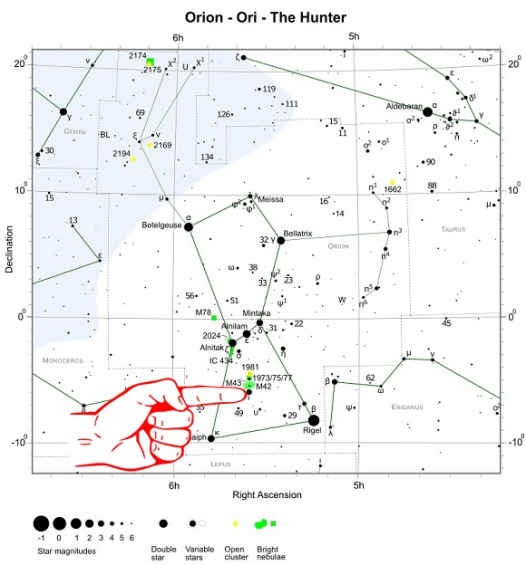 Celestial Hunting Season How To Locate The Orion Nebula FlyTrapMan - Orion star map